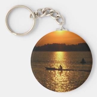 Kayaking Sunset Basic Round Button Key Ring