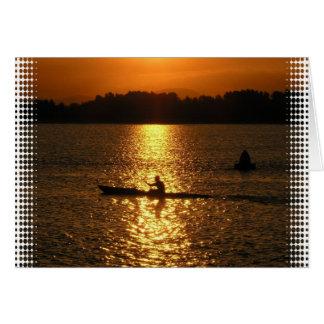Kayaking Sunset Greeting Card