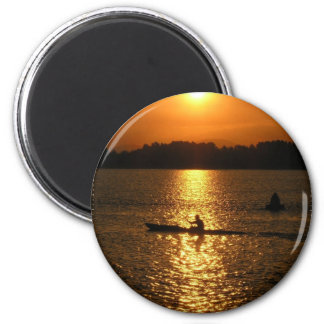 Kayaking Sunset Fridge Magnet