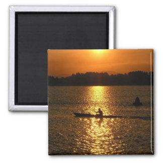 Kayaking Sunset Square Magnet