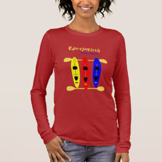Kayaking Water Sports Themed Graphic Long Sleeve T-Shirt