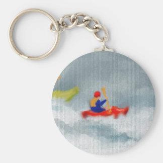Kayaks Art Basic Round Button Key Ring