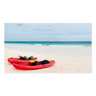 Kayaks at beach business card template
