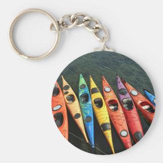 Kayaks! Basic Round Button Key Ring