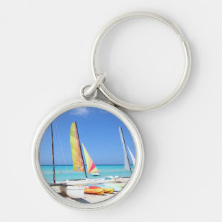 Kayaks, Catamarans And Kayaks| Cuban Beach Silver-Colored Round Key Ring