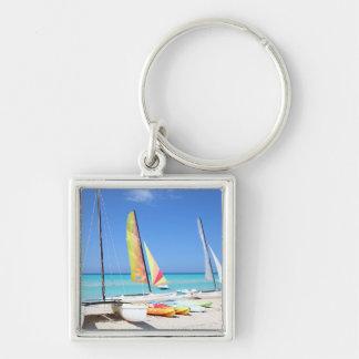 Kayaks, Catamarans And Kayaks| Cuban Beach Silver-Colored Square Key Ring