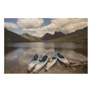 Kayaks, Cradle Mountain and Dove Lake, Cradle Wood Wall Art