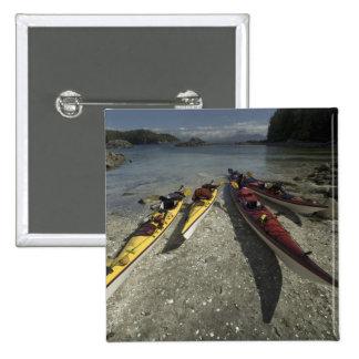 Kayaks on Dicebox Island, Broken Island Group, 15 Cm Square Badge