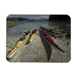 Kayaks on Dicebox Island, Broken Island Group, Rectangular Photo Magnet
