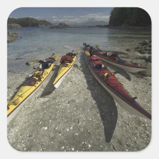 Kayaks on Dicebox Island, Broken Island Group, Square Sticker