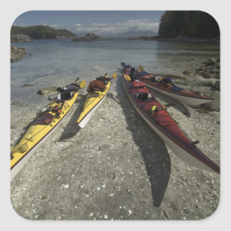 Kayaks on Dicebox Island Broken Island Group Square Stickers