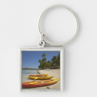 Kayaks on the beach, Plantation Island Resort Silver-Colored Square Key Ring