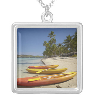 Kayaks on the beach, Plantation Island Resort Silver Plated Necklace