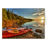 Kayaks On The Lake Superior Beach At Isle Royale Greeting Cards