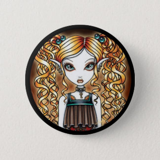 """Kayla"" Steampunk Fairy Close Up Pinback Button"