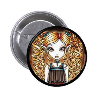 """""""Kayla"""" Steampunk Fairy Close Up Pinback Button"""
