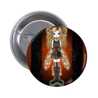 """Kayla"" Steampunk Fairy Pinback Button"