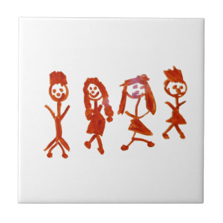 Kaylee My Family 2013 Art1a Hoboken The MUSEUM Zaz Small Square Tile