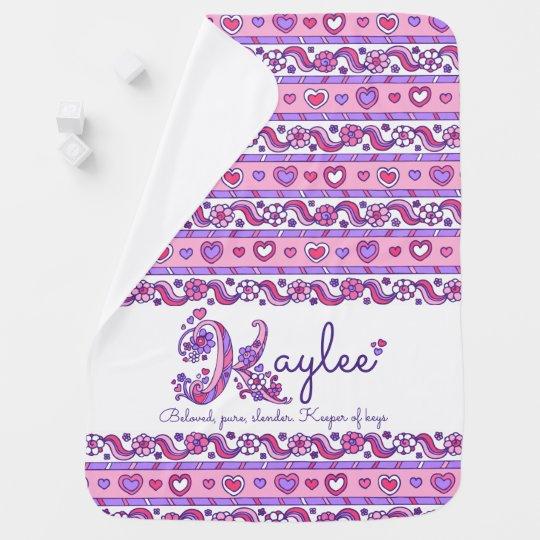 Kaylee personalised K name meaning baby blanket