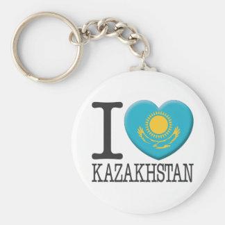 Kazakhstan Basic Round Button Key Ring