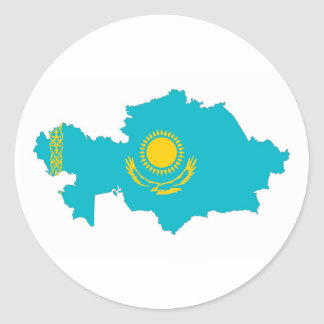 kazakhstan country flag map shape symbol round sticker