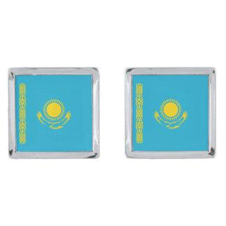 Kazakhstan Flag Cufflinks Silver Finish Cufflinks