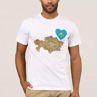 Kazakhstan Flag Heart and Map T-Shirt