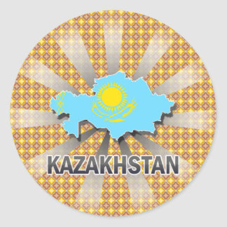 Kazakhstan Flag Map 2.0 Classic Round Sticker