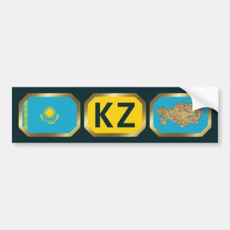 Kazakhstan Flag Map Code Bumper Sticker