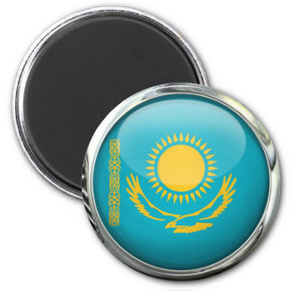 Kazakhstan Flag Round Glass Ball Magnet
