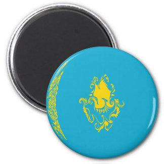 Kazakhstan Gnarly Flag 6 Cm Round Magnet
