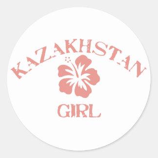 Kazakhstan Pink Girl Classic Round Sticker