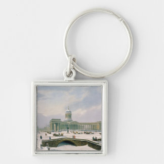 Kazan Cathedral, St. Petersburg Silver-Colored Square Key Ring