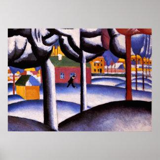 Kazimir Malevich art - Winter Landscape Poster