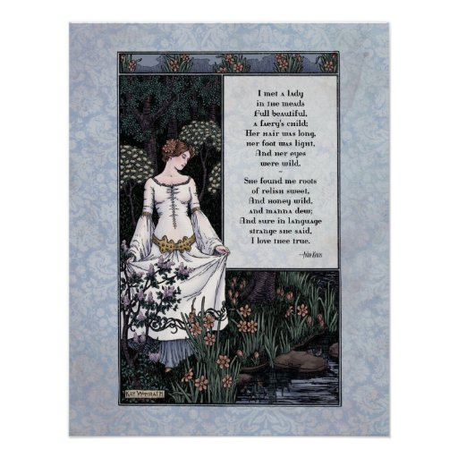 "Keats ""La Belle Dame"" Victorian Art Poster"