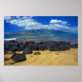 Keawakapu Beach Lava West Maui Mountains Poster