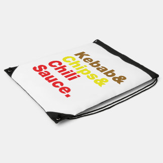 Kebab & Chips & Chili Sauce. Drawstring Bag
