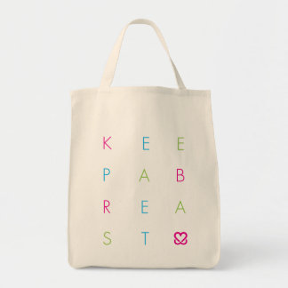Keep A Breast Type Organic Grocery Tote Canvas Bag