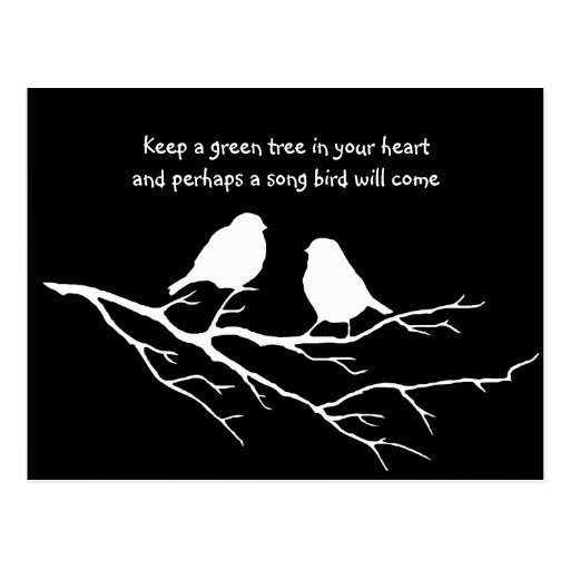 Keep a green tree in your heart with Birds Postcards