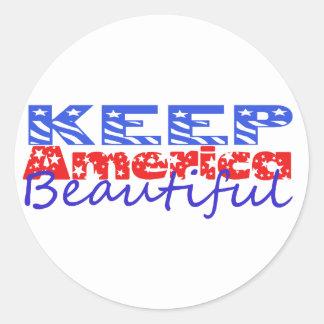 Keep America Beautiful Classic Round Sticker