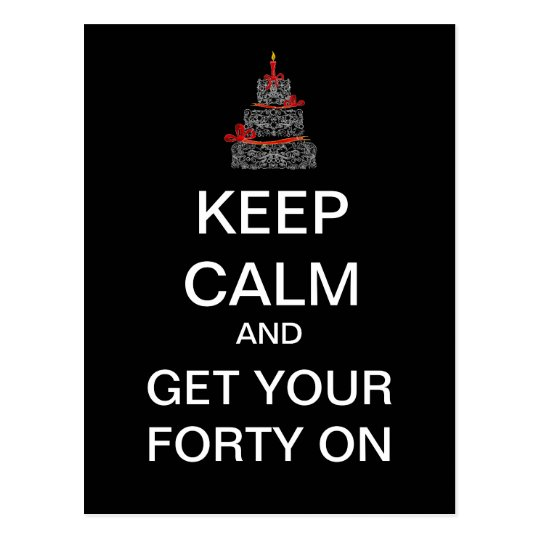 KEEP CALM 40th Birthday Mod Postcard (Black)