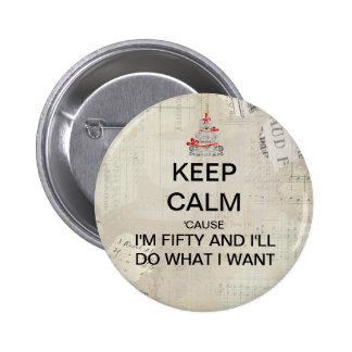 Keep Calm 50th Birthday Party Favor 6 Cm Round Badge