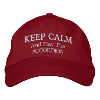 Keep Calm Accordion Music Embroidered Hat