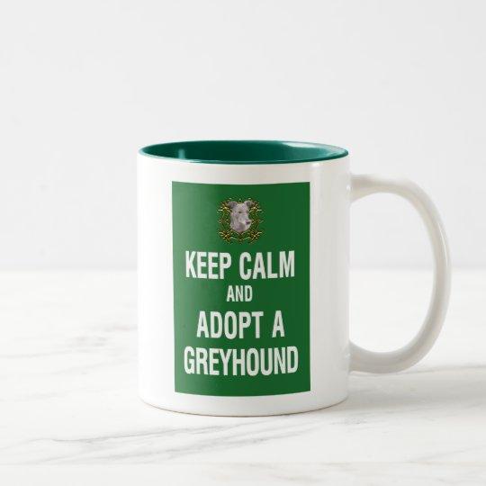 Keep Calm & Adopt a Greyhound Two-Tone Coffee