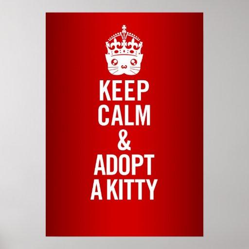 Keep Calm & Adopt a Kitty Poster