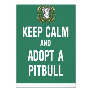 Keep Calm & Adopt a Pitbull 13 Cm X 18 Cm Invitation Card