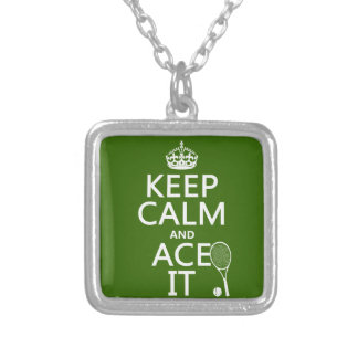 Keep Calm and Ace It (tennis) (in any color) Custom Necklace