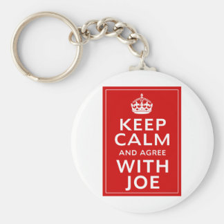 Keep Calm And Agree With Joe Basic Round Button Key Ring