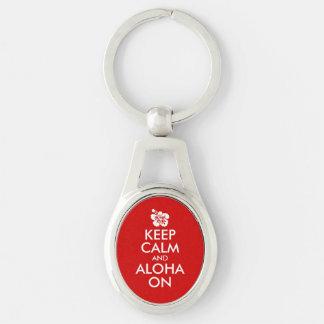 Keep Calm and Aloha On Hibiscus Key Ring