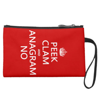 Keep Calm and Anagram On (in any color) Suede Wristlet